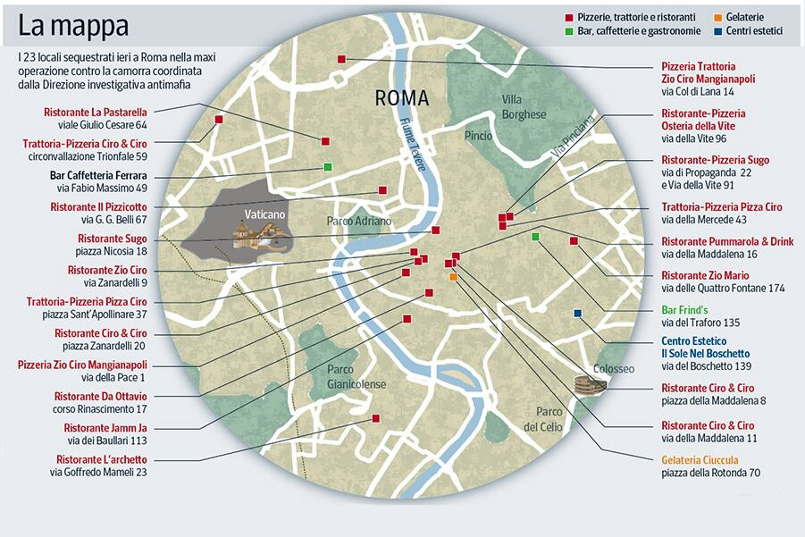 Pizza Connection, Mappa dei locali sequestrati