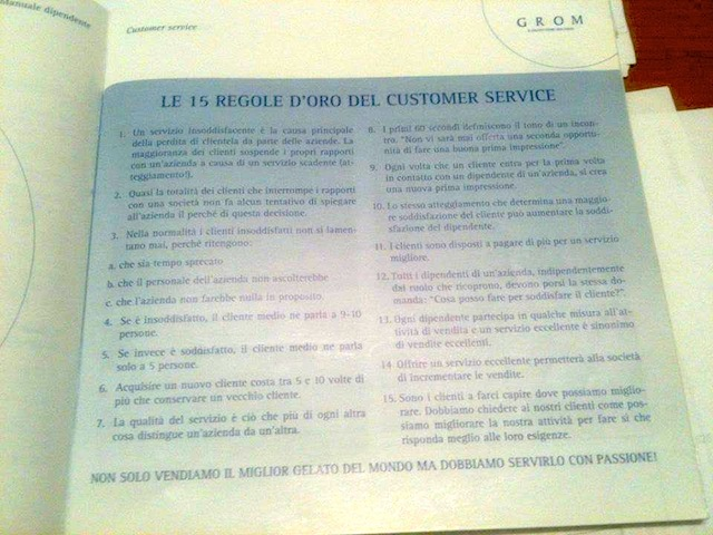Manuale dipendente, Grom
