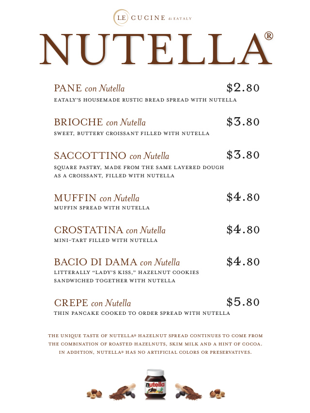 Nutella bar, Eataly New York, Menu