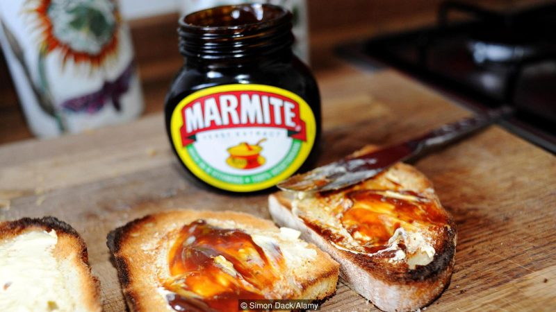 Marmite on toast love it or hate it famous British spread made of yeast extract. Image shot 10/2015. Exact date unknown.