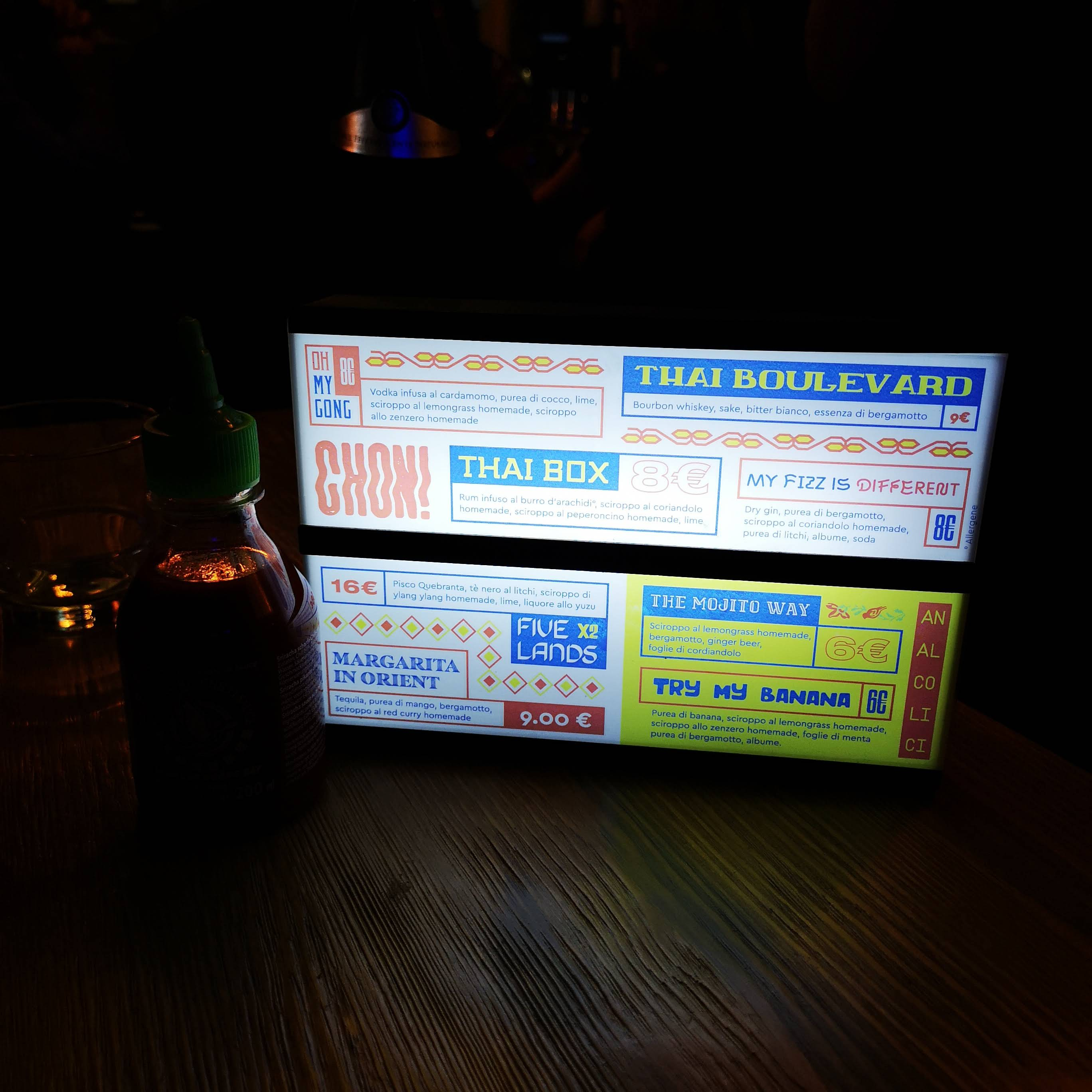 Light box menu cocktail Tuk Tuk Ride Roma