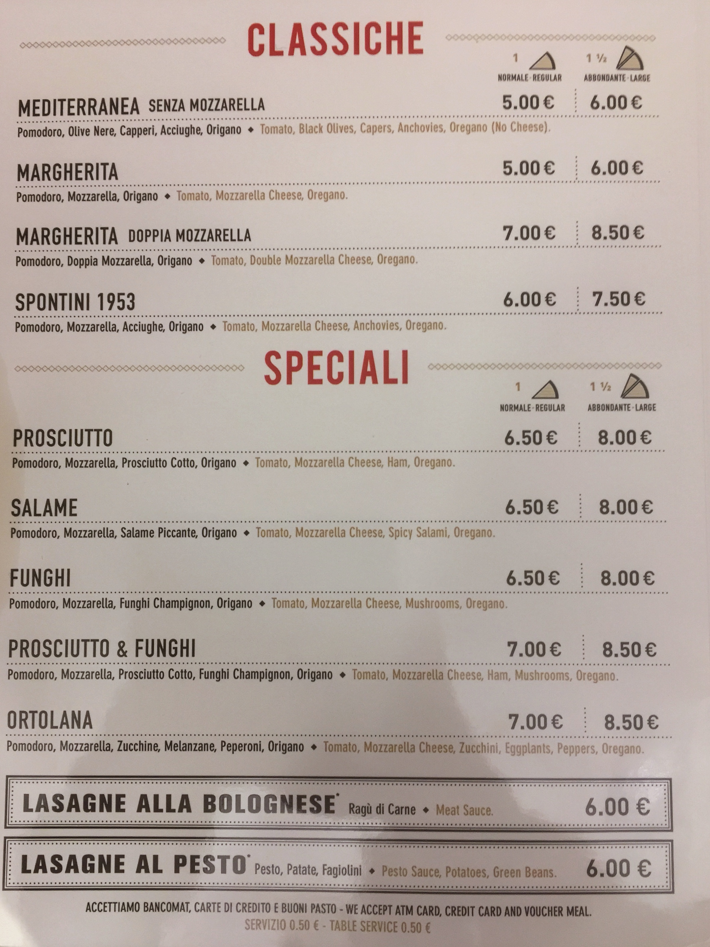 Spontini - Menu Pizze