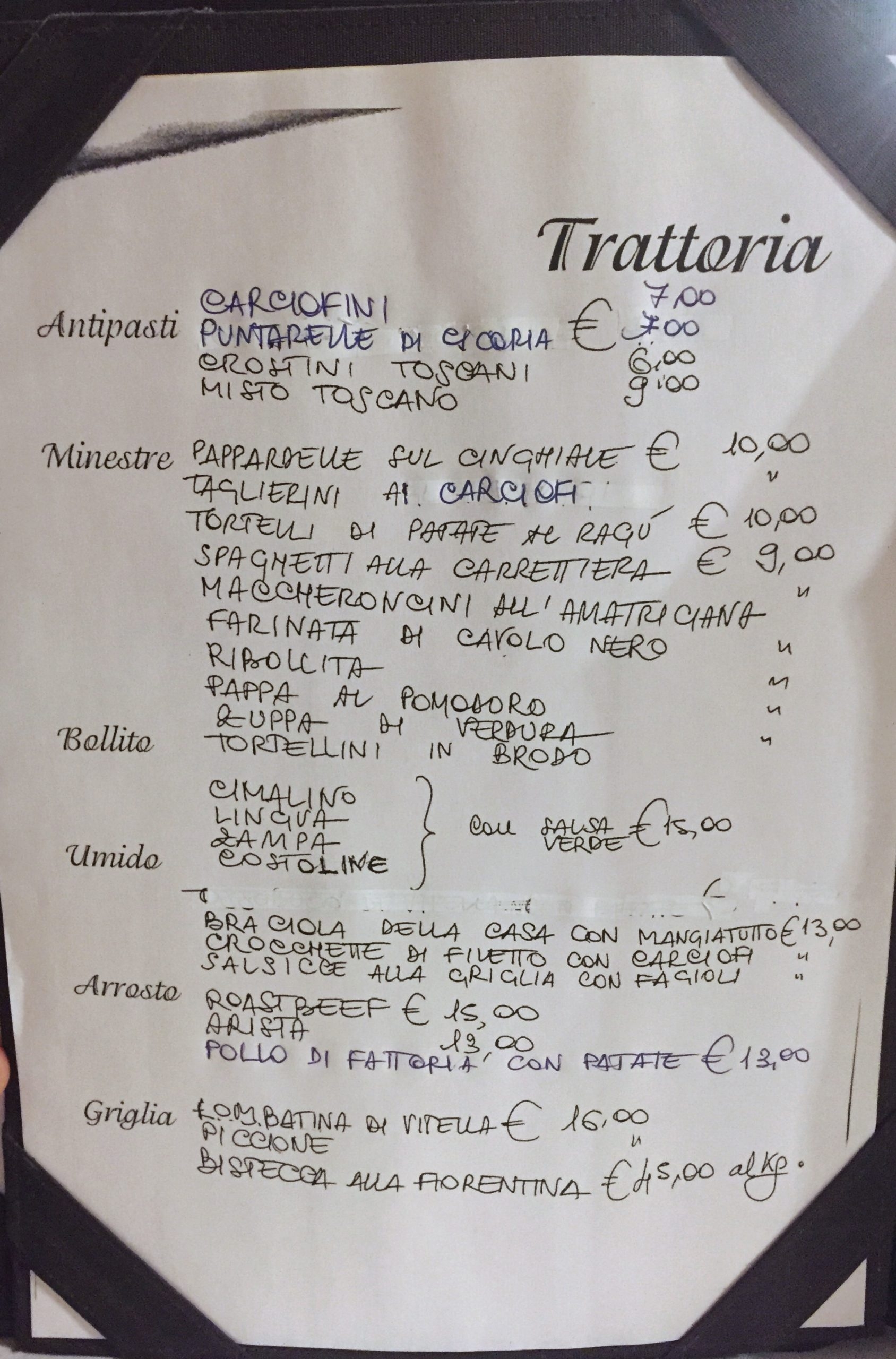 Menu 2, Ruggero, Firenze