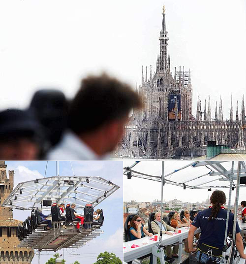 Milano vista da Dinner in the sky, la piattaforma per gli spuntini in quota